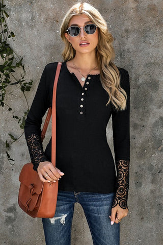 Crochet Sleeve Henley Top - Black