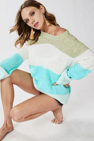 Pastel Color Block Sweater - Mint