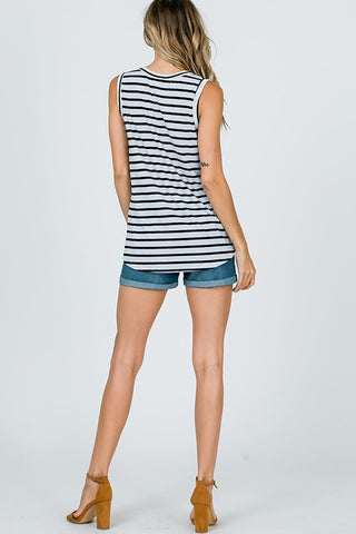 Striped Sleeveless Button Up Twist Top - Off White and Black