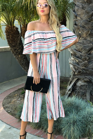 Off the Shoulder Striped Jumpsuit - Pink
