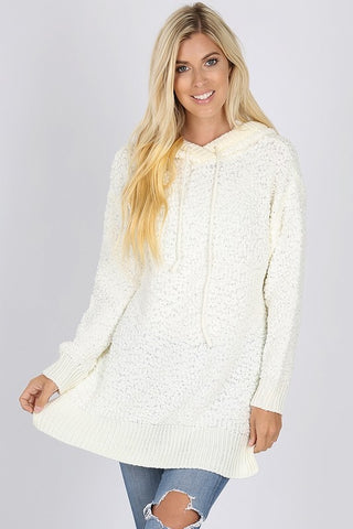 Popcorn Hooded Sweater - Ivory