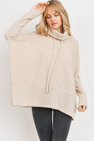 Wool Brushed Heavy Weight Cowl Neck Top - Oatmeal