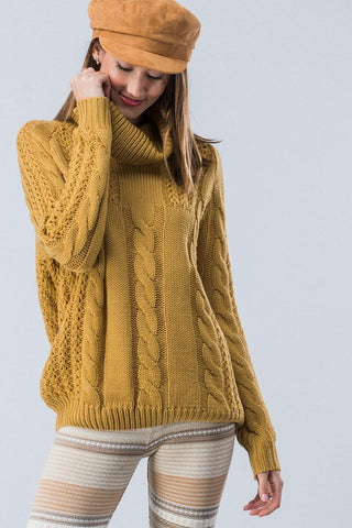 Cable Knit Cowl Neck Sweater - Mustard