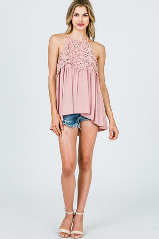 Lace Racerback Top - Sage