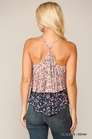 Ditsy Ruffle Top - Light Mauve/Denim