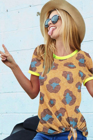 Leopard Print Side Tie Top - Mustard and Neon Coral