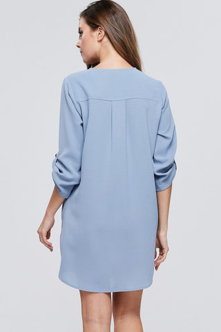 Button Down Shift Dress - Dusty Blue