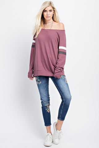 Brushed Faux Cashmere Boatneck Top - Red Chambray