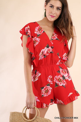 Floral Romper - Chili Powder Mix
