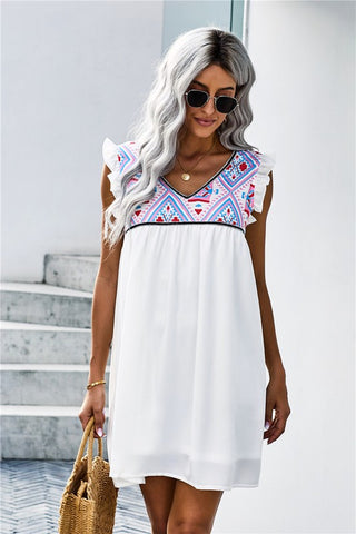 Aztec Print Shift Dress - White