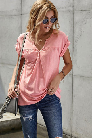 Button Up Short Sleeve Top - Pink