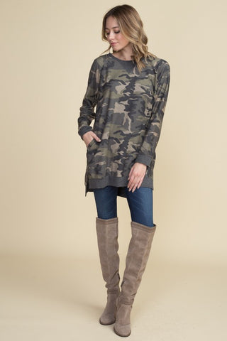 Camo Tunic Top - Olive