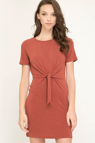 Fall Fitted Front Tie Dress - Rust