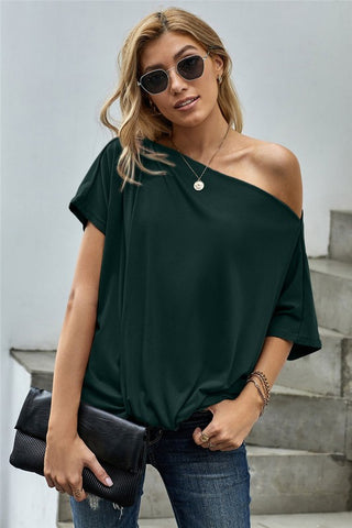 Short Sleeve Off Shoulder Knotted Top - Green