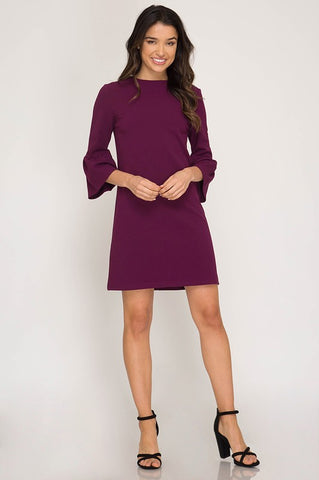 Bell Sleeve Shift Dress - Magenta
