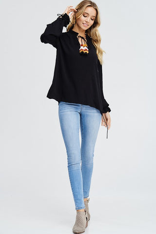 V-Neck Tassel Top - Black