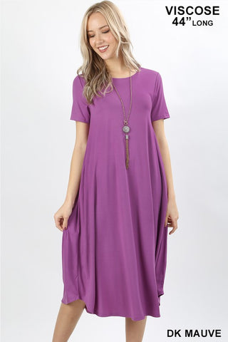 T-Shirt Style Midi Dress - Dark Mauve