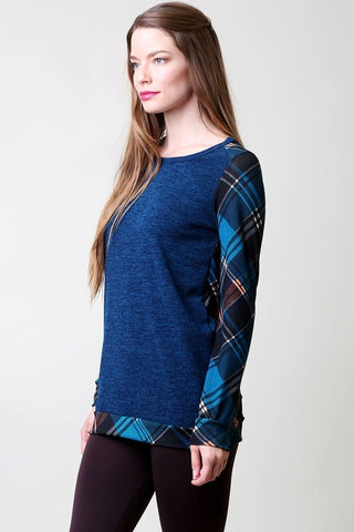 Plaid Contrast Top - Green