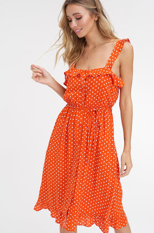 Polka Dot Sundress - Orange