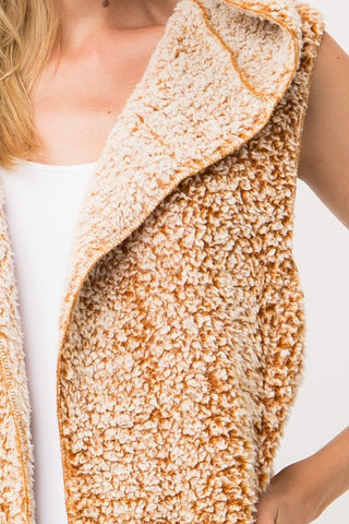 Soft and Fuzzy Vest with Hood - Mustard