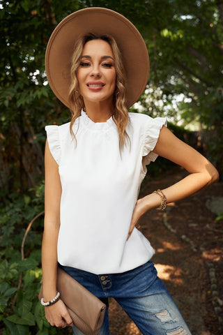 Flouncy Sleeve Mock Neck Top - White