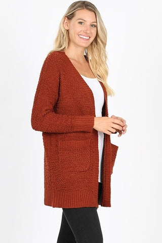 Popcorn Cardigan - Dark Rust