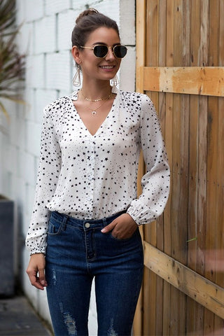 Star Button Down Blouse - Ivory