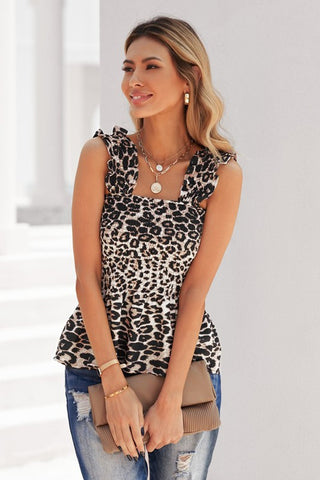 Smocked Tank Top - Leopard