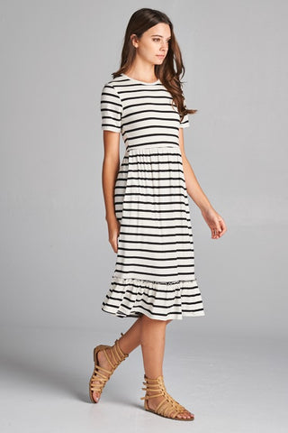 Midi Ruffle Dress - Striped Black