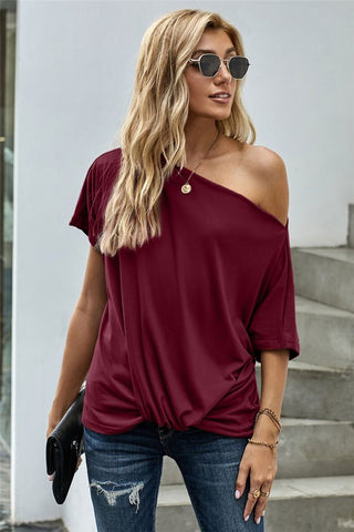Short Sleeve Off Shoulder Knotted Top - Red