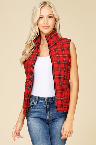 Plaid Puffy Vest - Red