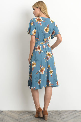 Retro Wrap Midi Dress - Dusty Blue