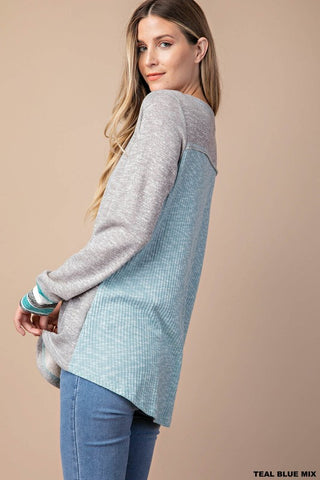 Cozy Contrast Top - Teal