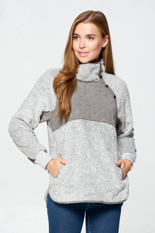 Fleece Pullover with Snaps - Heather Gray