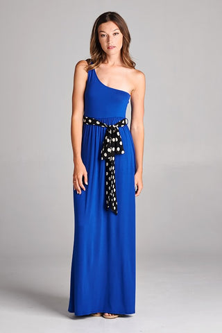 One Shoulder Maxi Dress with Sash - Royal