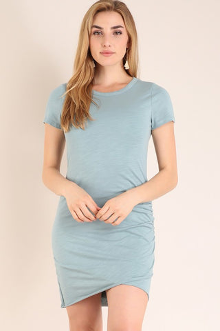 Ruched Short Sleeve Dress - Light Blue