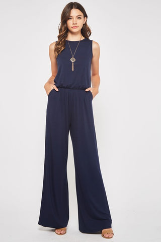 Sleeveless Style Jumpsuit - Navy