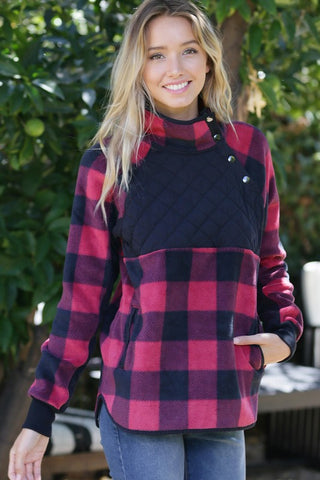 Buffalo Plaid Pullover - Red