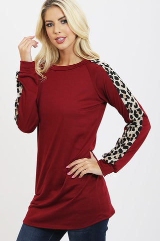 Leopard Print Long Tunic - Burgundy