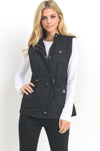 Faux Fur Lined Vest - Black