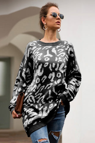 Oversized Leopard Print Sweater - Black