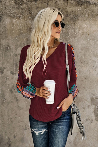 Contrast Sleeve Thermal Top - Wine