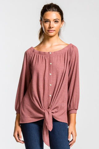 Off Shoulder Button Up Top - Brick