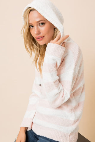 Soft Striped Hoodie - Blush