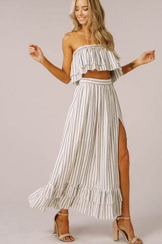 Striped Two Piece Dress - Gray