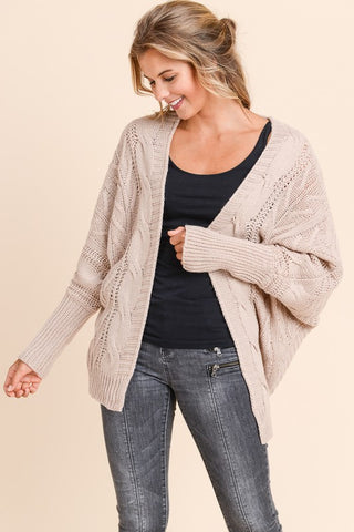 Dolman Sleeved Cardigan - Mauve