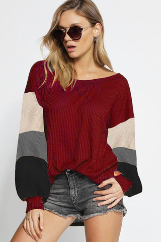 Puff Sleeve Color Block Top - Burgundy