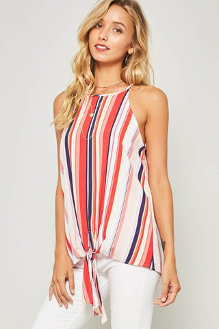 Weekend Festival Striped Top - Red and White