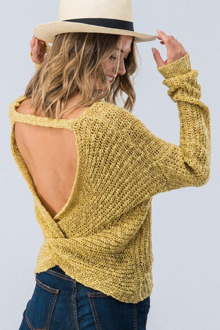 Twist Back Sweater - Mustard