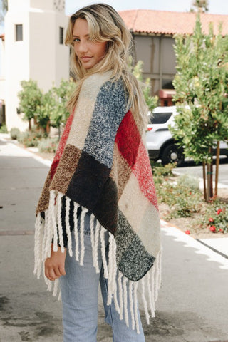 Color Block Tassel Poncho - Red and Blue